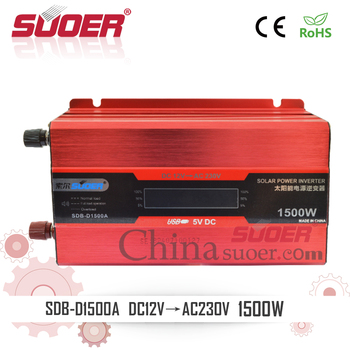 Suoer 1500W 12V to 220V Intelligent Solar Power Inverter with LCD Display