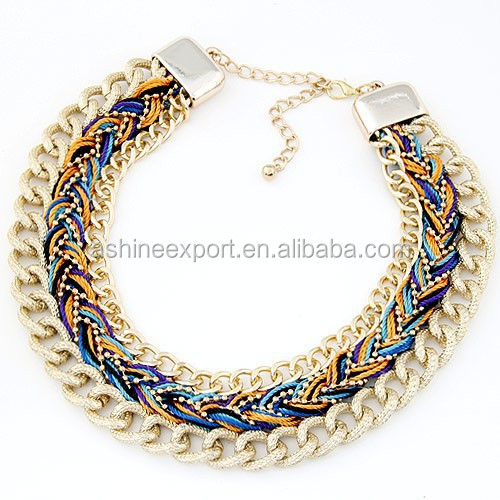 Fashion Indian Tribe Neon Thread Metal Chain Braided Choker Chunky Collar Necklace