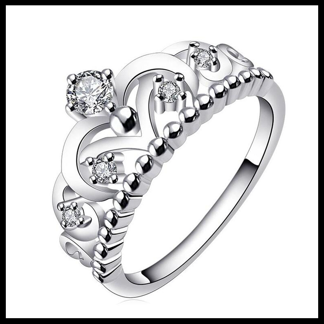 Cheap price silver plating royal crown ring