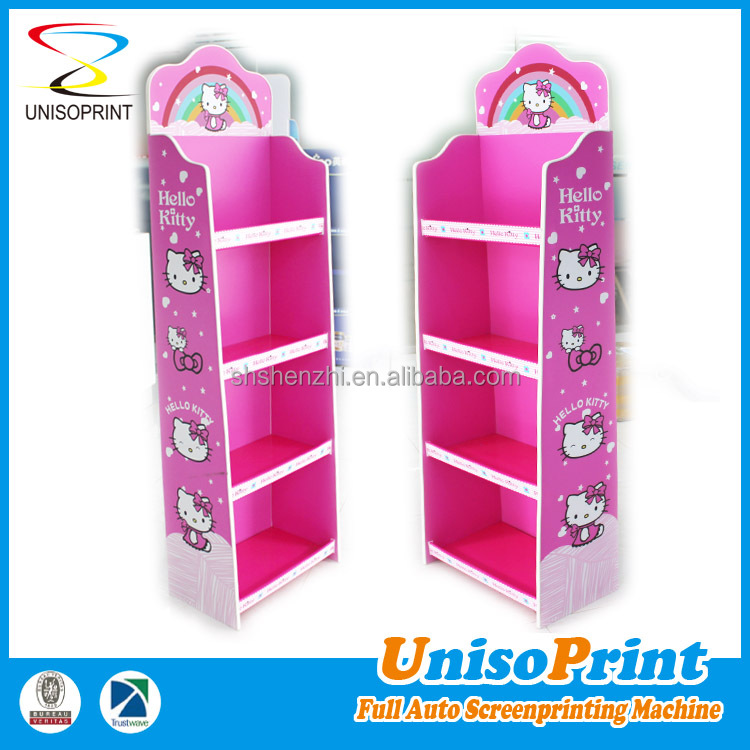 Factory made full color printing portable plastic pop display shelves