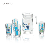 7pcs beautiful drinking glass set with printing