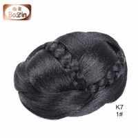 Top Quality Clip In On Women's Pre Braided Synthetic Hair Bun Chignon Donut Roller Hairpieces