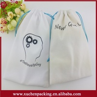 Competitive Price Bulk Printing Drawstring White Plush Velvet Pouch for Jewelry
