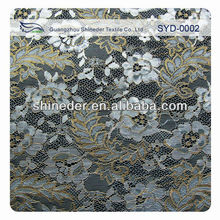 2013 Newest charming floral lace gold metallic lace fabric nylon fabric wholesale guangzhou lace SYD-0002