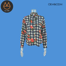 Newest casual style mujer ropa ladies long sleeve blouse print plaid shirt