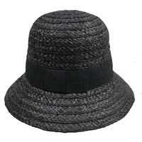 100% hand knitted Raffia straw short brim black cloche hat for girl