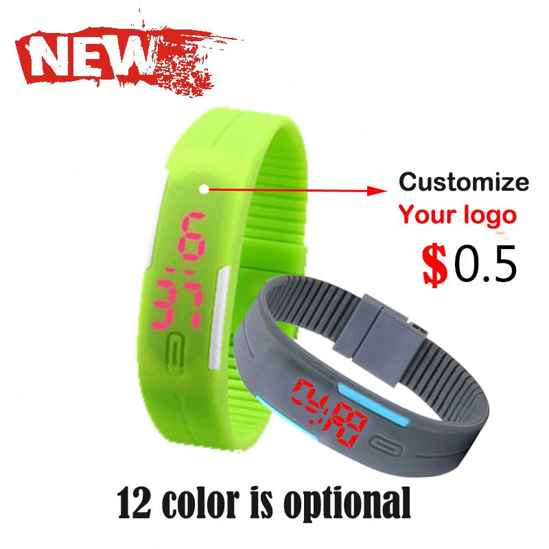 custom cheap brand your own logo Red LED Digital Watch Men Women Sport Cuff Wrist Watch assorted colours