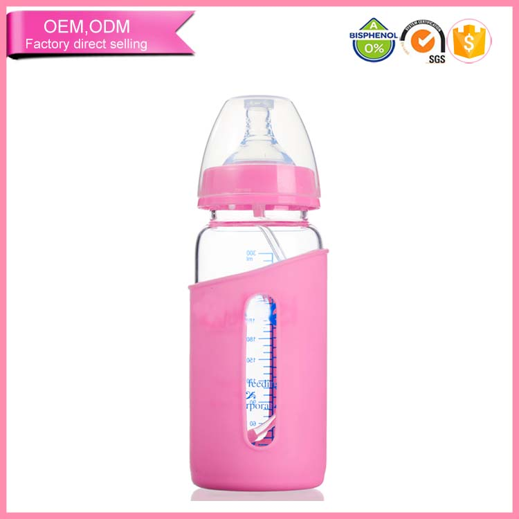 babies product baby glass nursing bottle with sleeve