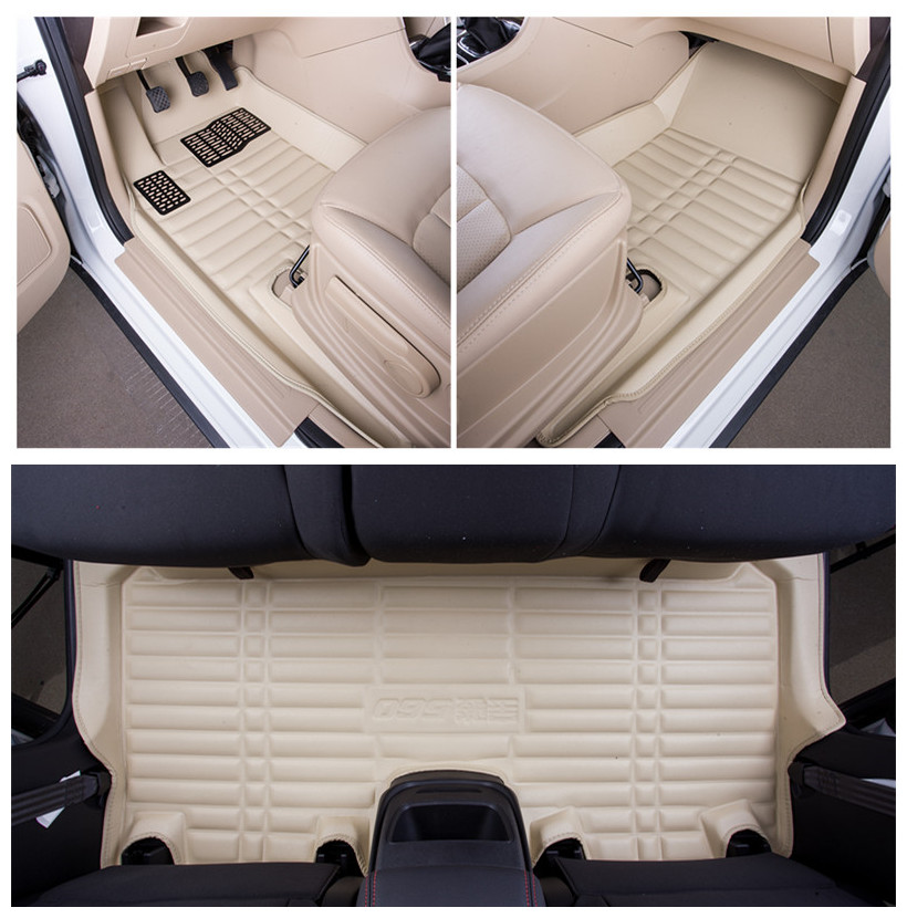 PU Leather Beige Color Car Floor Mats For Dedicated Car