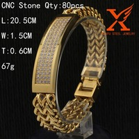 New Mens Two Line Big Franco Bracelet 14k Yellow Gold Stainless Steel CNC Zircon Stone Hip Hop Bracelet