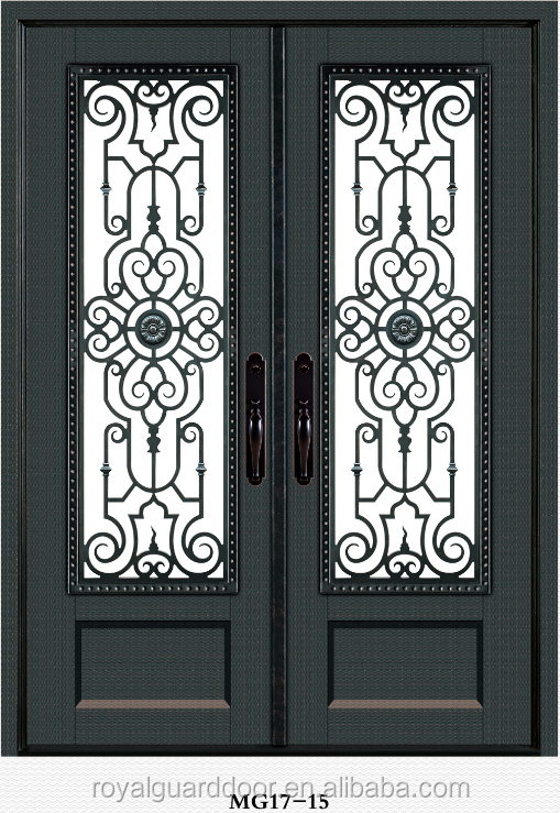 2017 latest New iron grill window door designs wrought iron door China manufacturer