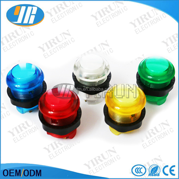 5V illuminated plastic push button for game machine switch push button arcade game button
