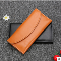 W-137 Yiwu IDEAS 100% genuine leather small MOQ hand long women wallet