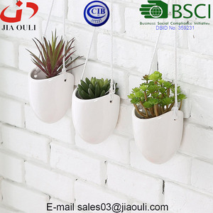 Hot sale Modern white Ceramic Rope Hanging Planters Succulent Planter for indoor or outdoor decor