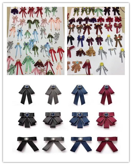 Latest design three colors handmade ribbon flower brooches wholesale
