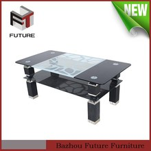 PP tube double layer modren glass dining table