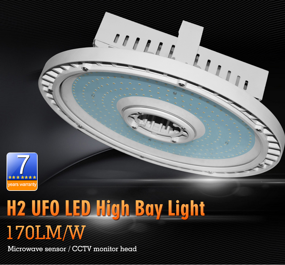 DLC UL UFO High Bay Led Lights 150w, IP65 UFO LED high bays 150w with motion sensor, led high bay