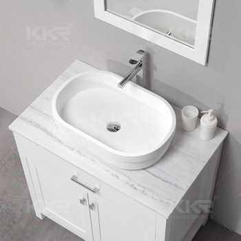 Fancy counter acrylic stone bathroom sinks