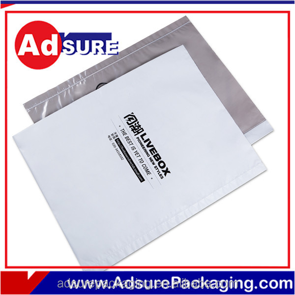 Plastic plastic packaging shipping bags size a5 opaque sealed envelope white grey custom plain and print plastic mail bags