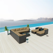 Corner used hotel outdoor curved rattan wicker woven sofa