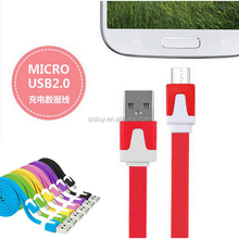 Colorful 1M 3FT Long Flat Micro USB Data Sync Charging Cable for Samsung HTC <strong>Blackberry</strong> Mobile <strong>Phone</strong>