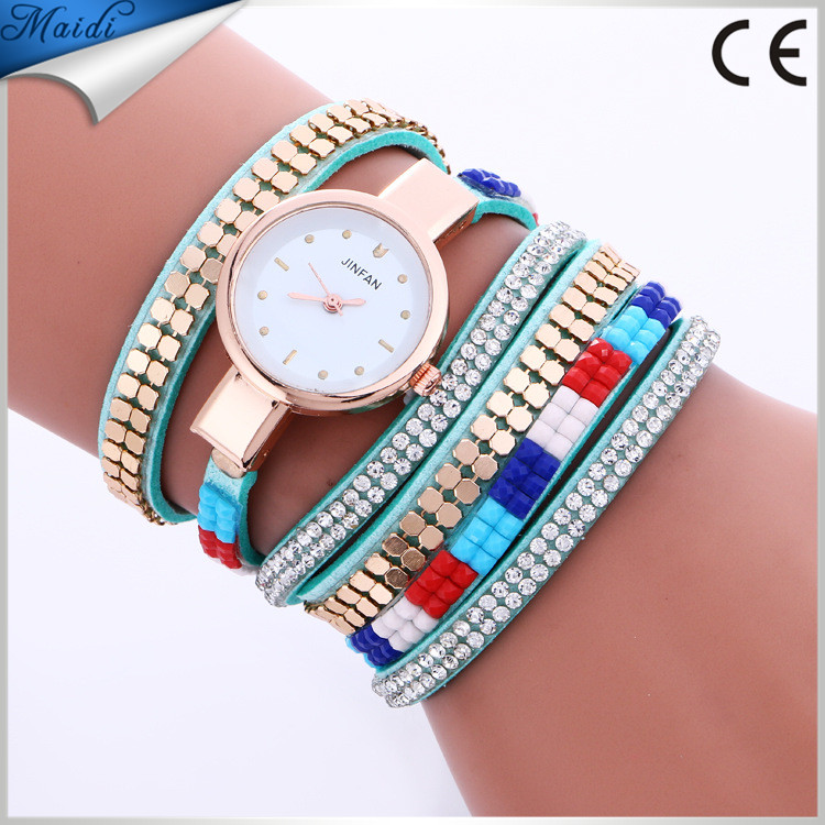Alibaba Hot Fashion Women Quartz Leather Watch Luxury Crystal Wrap Ladies Wrist Watch WW109