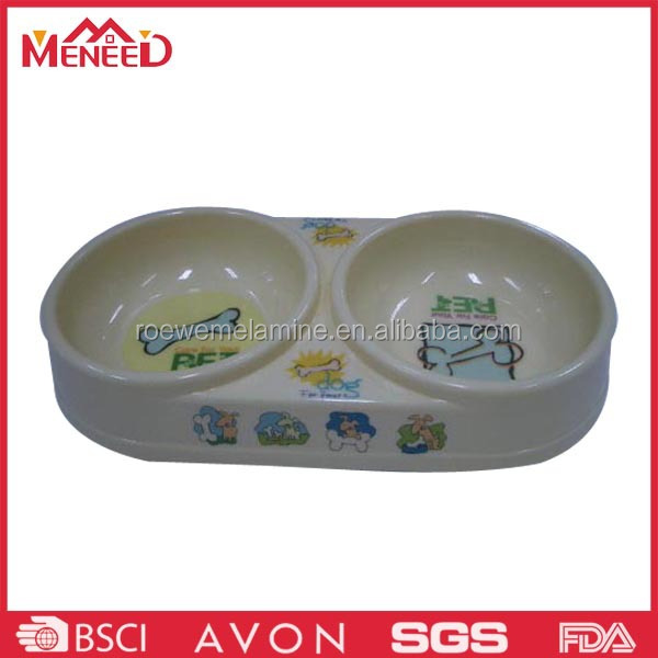 Cute cartoon dog print plastic dog bowl , melamine divided pet bowl