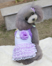 Pure lace dog cat dress with flowers spring summer clothes
