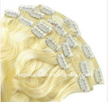 hot selling wholesale double drawn remy human hair extention 180g clip in