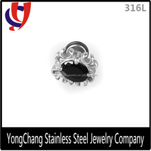Attractive silver castting 316L stainless steel stud earrings with black gem design for man
