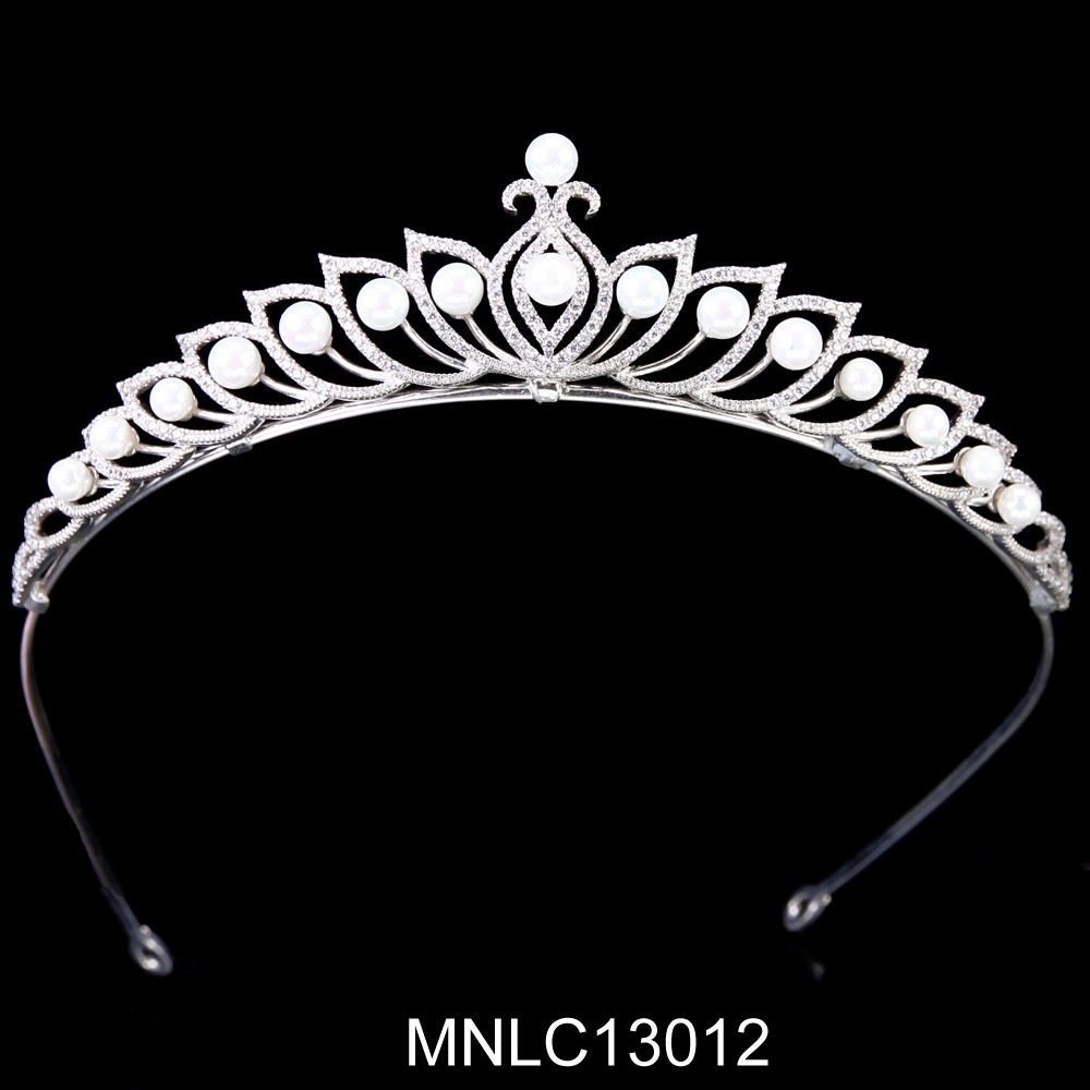 Hot selling fashion bling zircon pearl bridal wedding tiaras