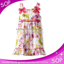 little girls cotton summer cute dresses with butterfly printed 2014