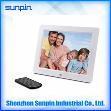 Multimedia ABS Finished Digital Photo Frame 10'' inch with Remote Control compatible with Built in Memory (white)