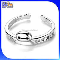 Cute Open Cartoon Ring Custom Engraved Letter Message Ring 925 Sterling Silver Hand Engraved Silver Ring