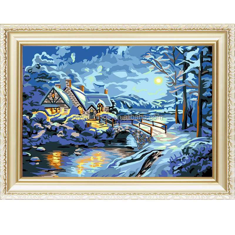 Russian snow night view draw menglei diy painting by numbers