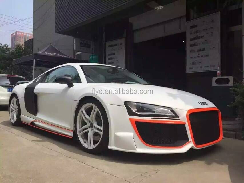 Factory direct R8 body kit Convert To wide Style Front Bumper Rear Bumper Side Skirts Auto parts wide body kit carbon fiber