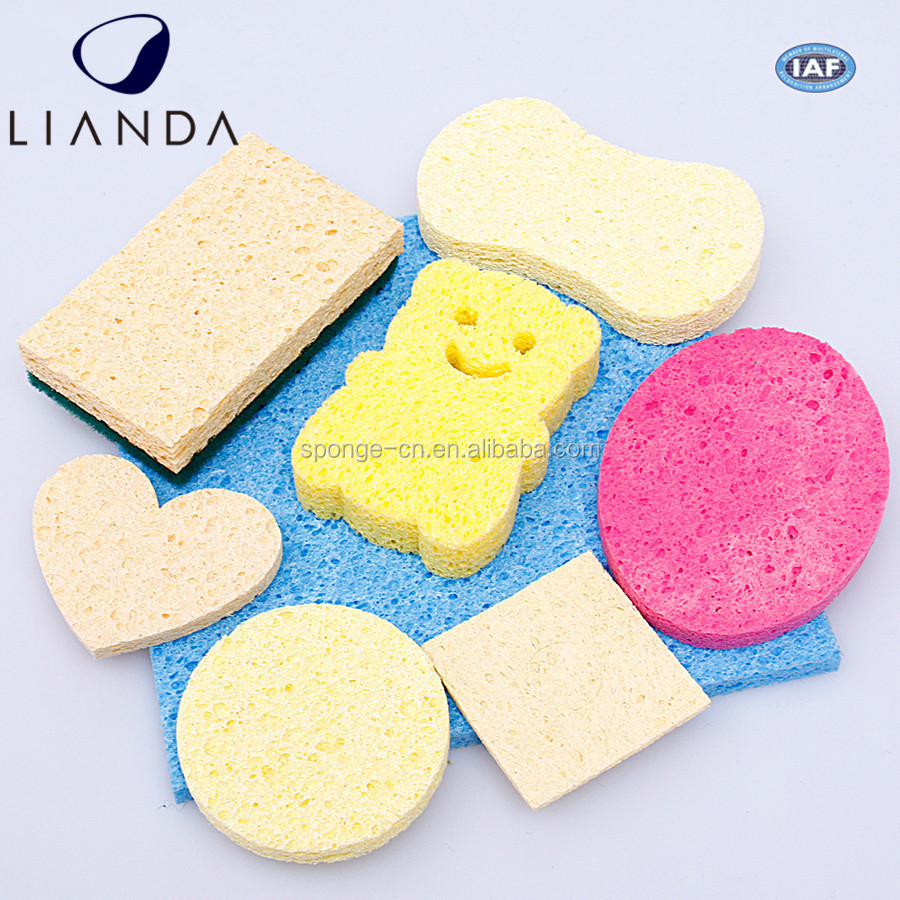 Rinse well and air dry natural vegetable facial cellulose sponge,compressed expending cellulose sponge block best hydrophilic
