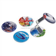Round/circle card usb with keyring, mini usb credit card 8GB with custom two side full color printing