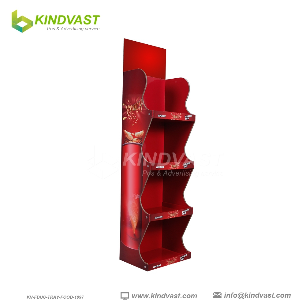 4 tier cardboard floor stand display rock for chips