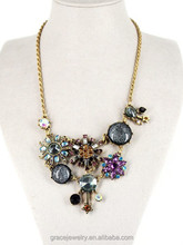 Pictures Antique Flower Shape Crystal Stone Statement jewelry Necklaces