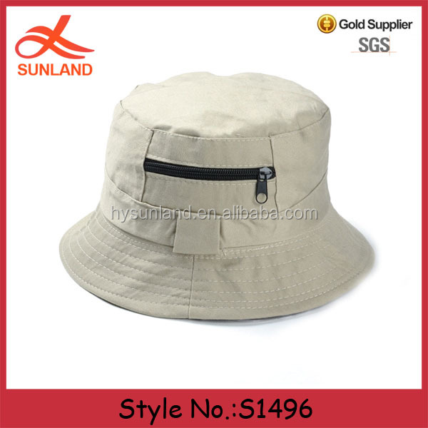 S1496 hot sale custom reversible blank plain white cotton bucket hats with zipper pocket wholesale