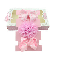 620 Color box package girls hair accessories handmade ribbon bow lace flower hairband baby girl headbands