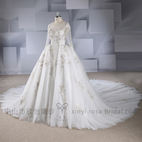 2018 Luxury Amazing Long Sleeve Gold Lace Tulle Wedding Dresses Bridal Gown Ball