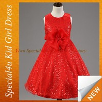 Red flower girl party dress big bow design girls dresses age 10 SFUBD-1041