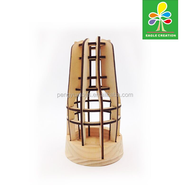 kerosene lamp shape puzzle Wooden 3D IQ Puzzle Toy Brain Teaser for sale