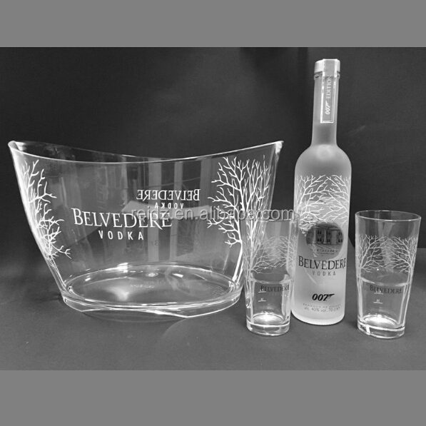 Supply all kind of unique beautiful luminous belvedere vodka bottle ice bucket