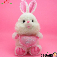 plush fluffy heart rabbit keychain toy