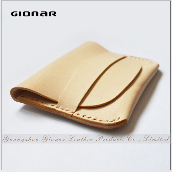 High Quality Beige Genuine Leather Pin Closure Poker Business Card Holder