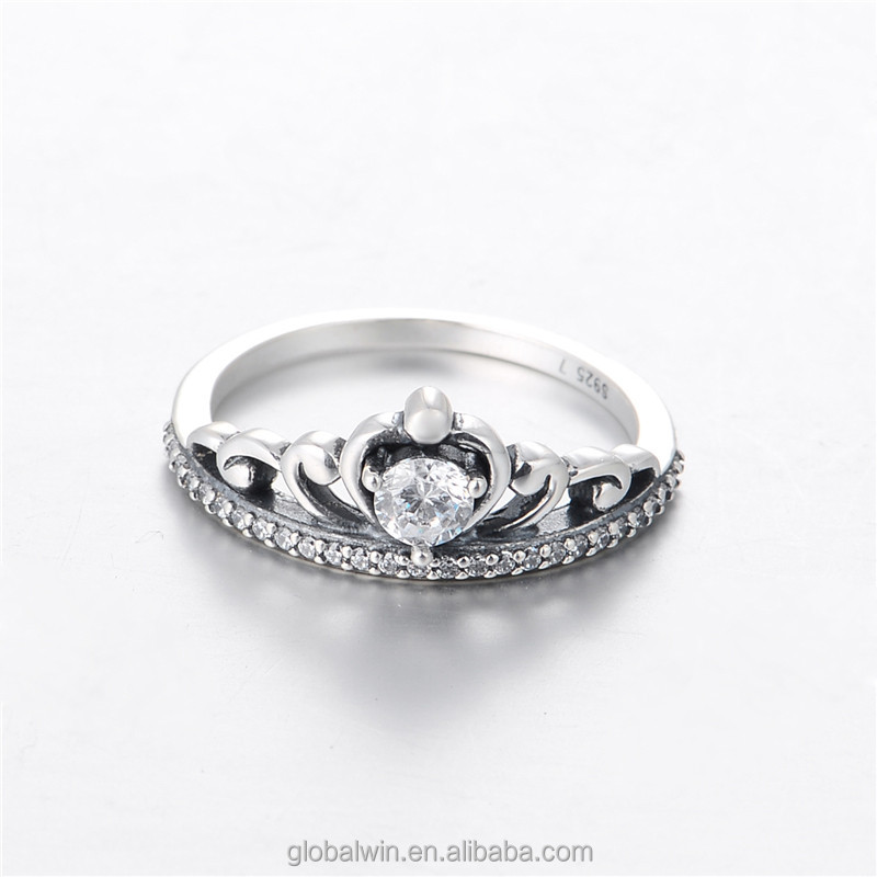Attractive Crown Design With Big Stone 925 Silver Sex Ring