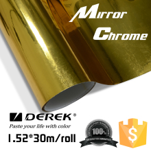DEREK Air Bubble Free Full Car Wrap Gold Chrome Mirror Vinyl Film